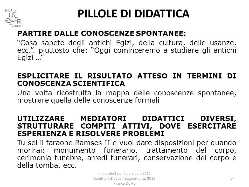 PILLOLE DI DIDATTICA PARTIRE DALLE CONOSCENZE SPONTANEE: