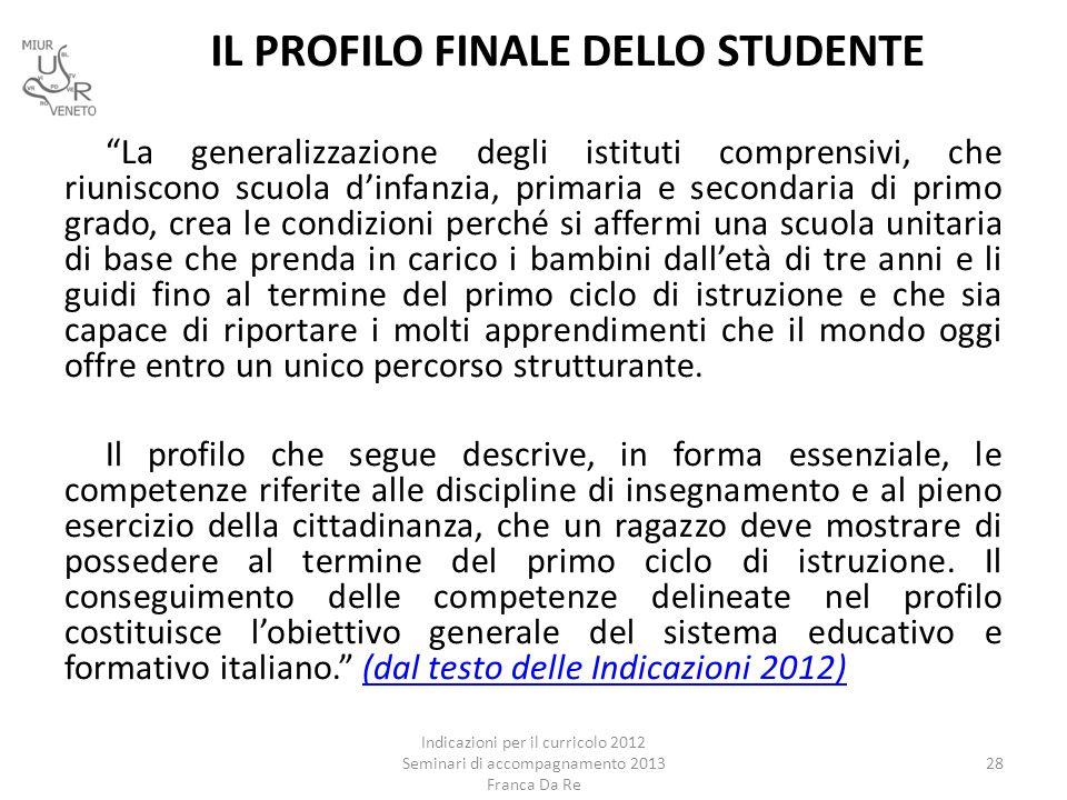 IL PROFILO FINALE DELLO STUDENTE