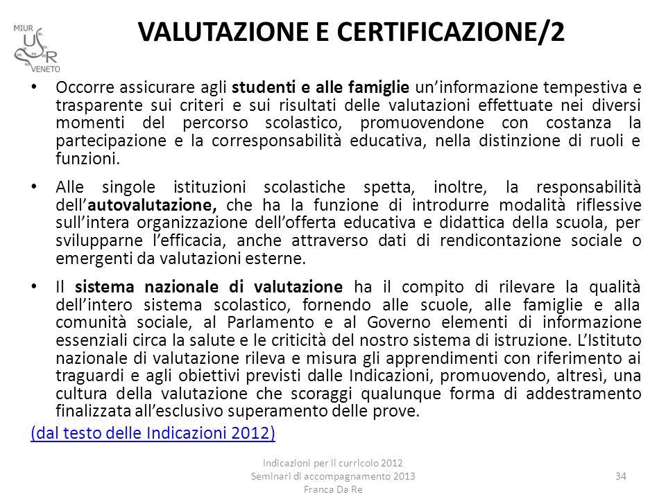 VALUTAZIONE E CERTIFICAZIONE/2