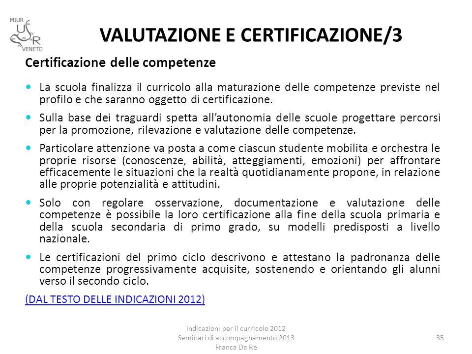 VALUTAZIONE E CERTIFICAZIONE/3
