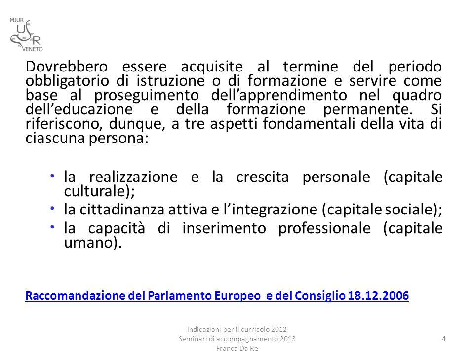 la realizzazione e la crescita personale (capitale culturale);