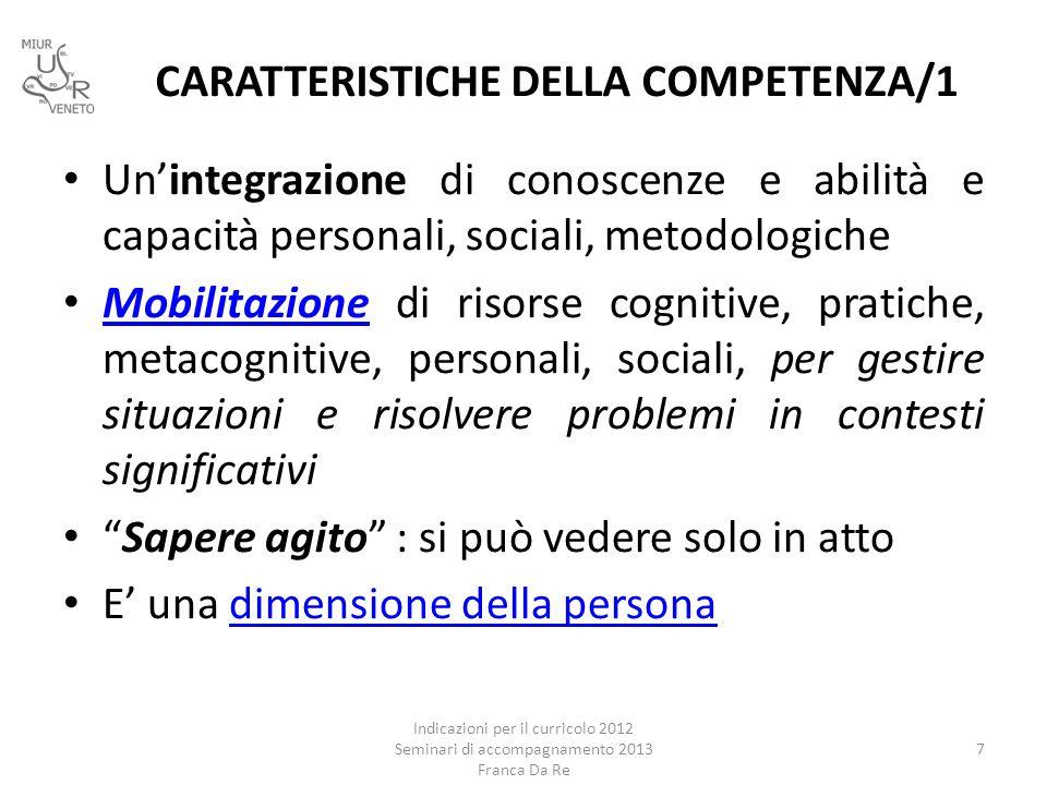 CARATTERISTICHE DELLA COMPETENZA/1