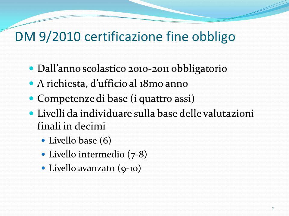DM 9/2010 certificazione fine obbligo