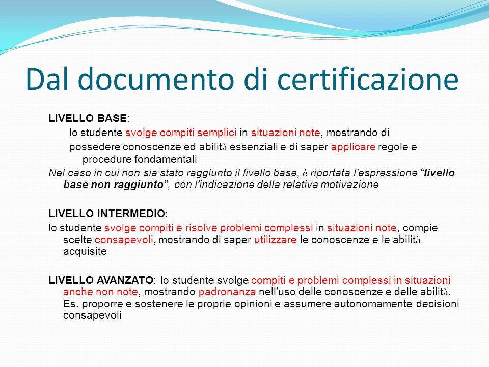 Dal documento di certificazione