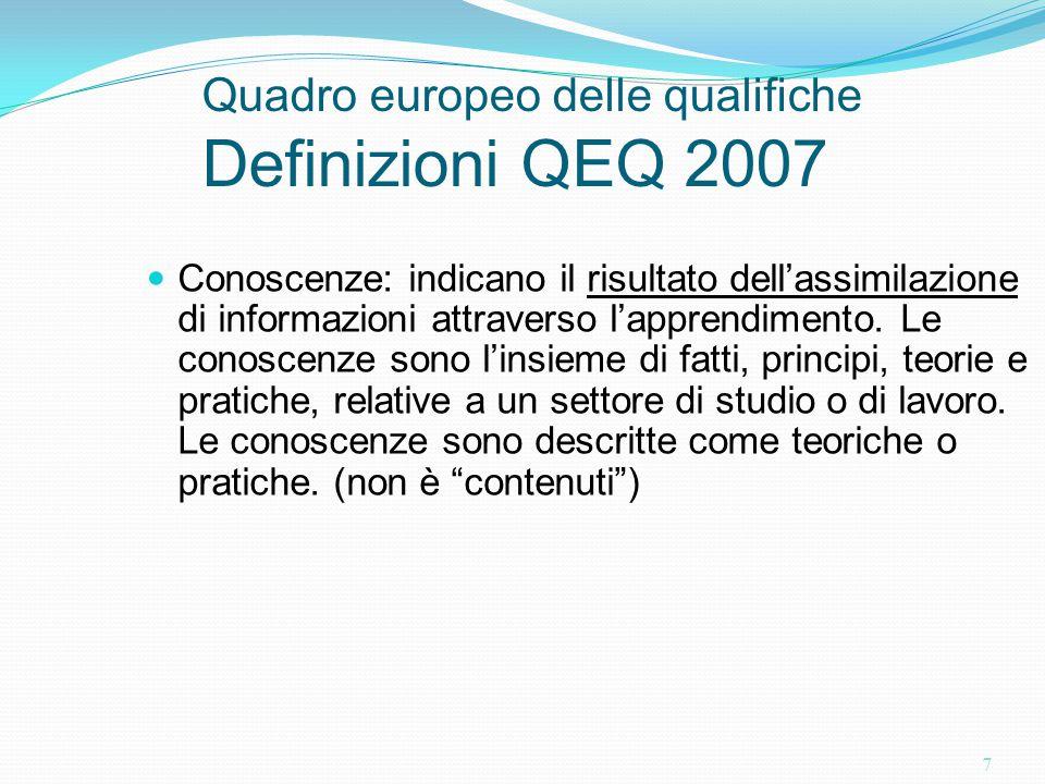 Quadro europeo delle qualifiche Definizioni QEQ 2007