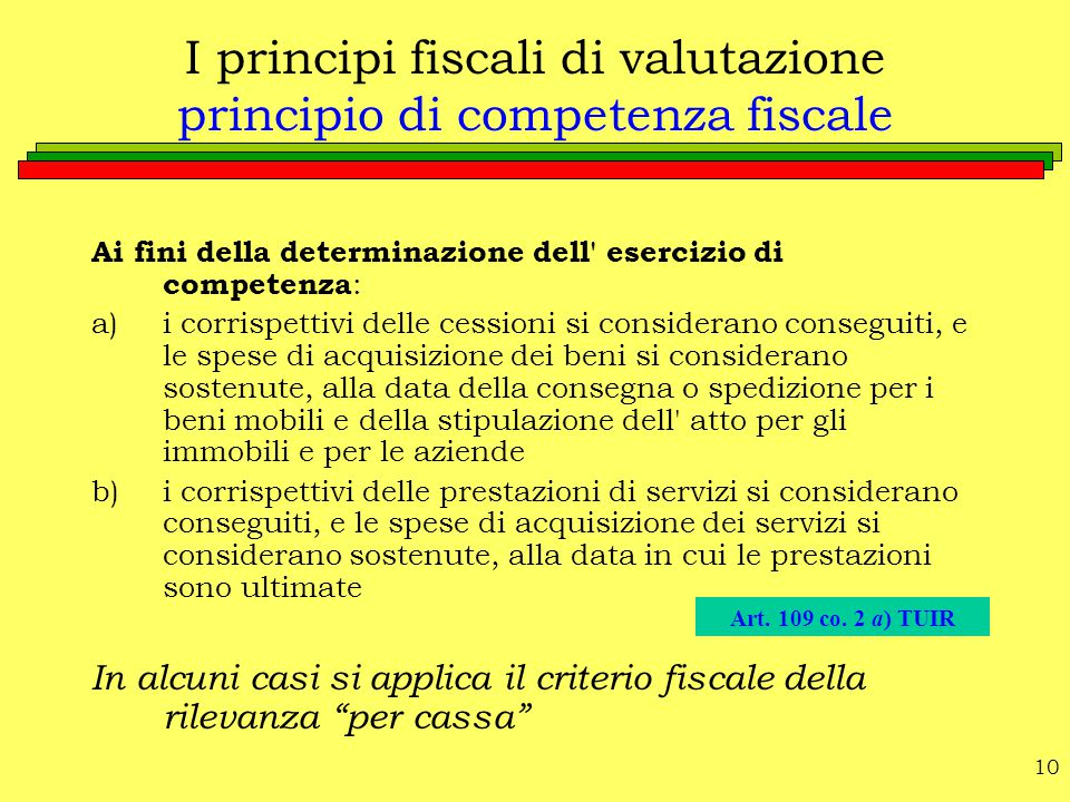 I principi fiscali di valutazione principio di competenza fiscale