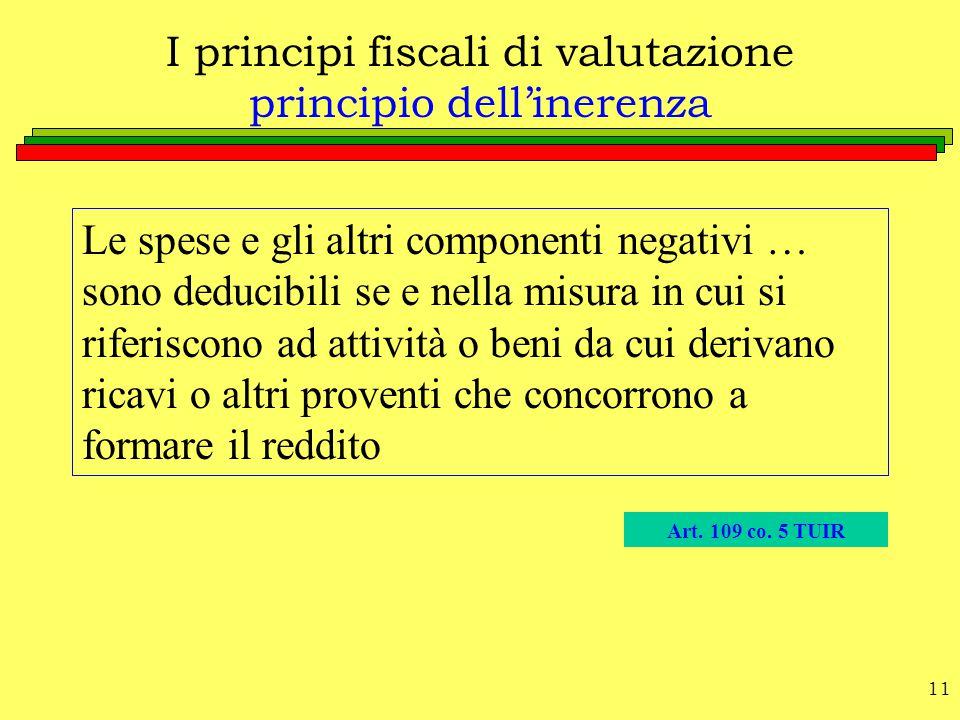 I principi fiscali di valutazione principio dell'inerenza