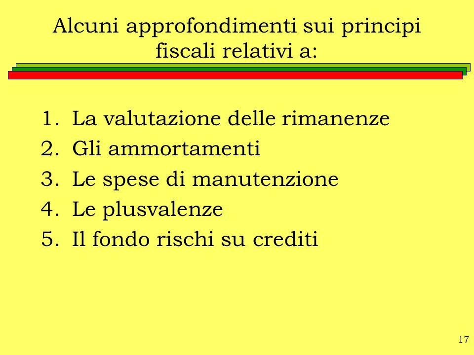 Alcuni approfondimenti sui principi fiscali relativi a:
