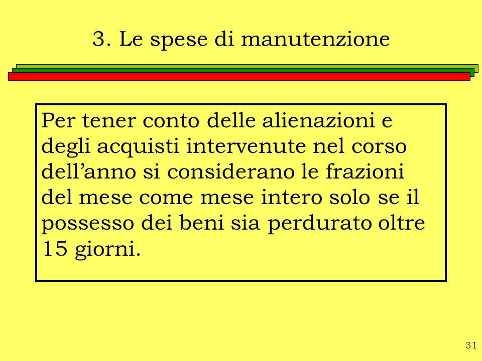3. Le spese di manutenzione