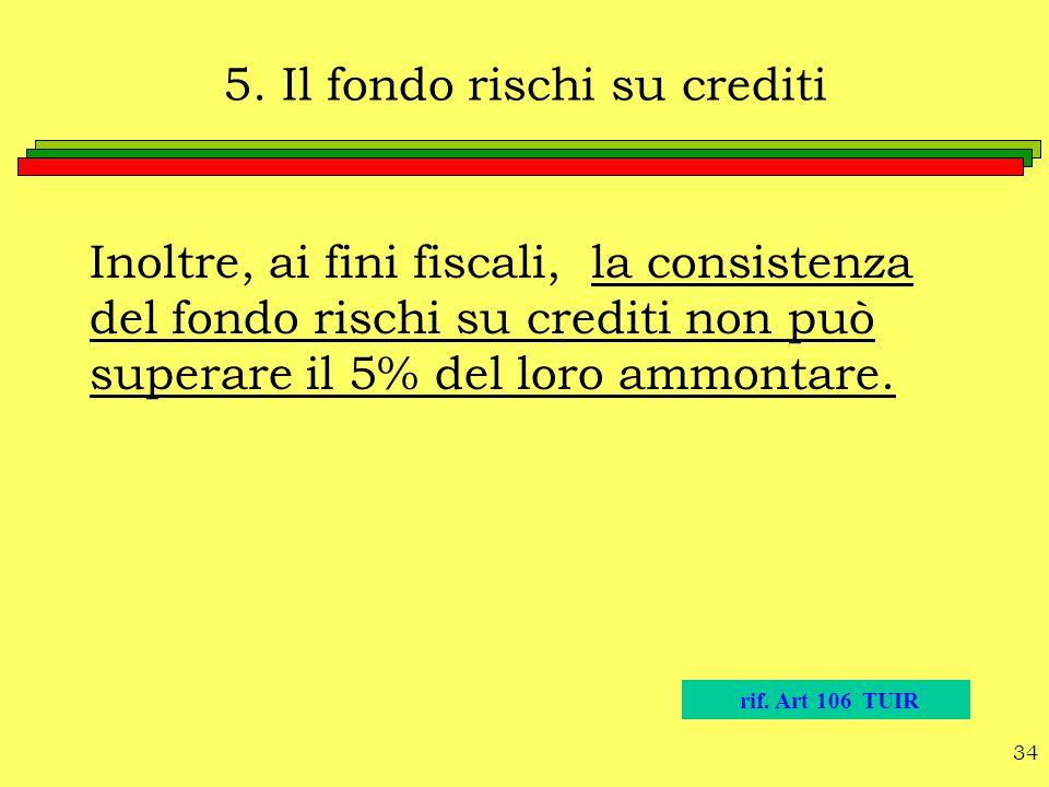 5. Il fondo rischi su crediti