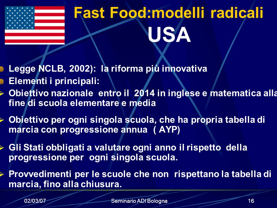 Fast Food:modelli radicali USA