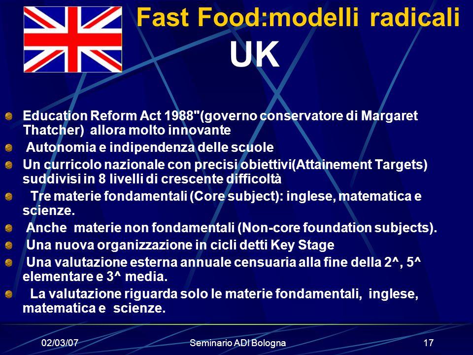 Fast Food:modelli radicali UK