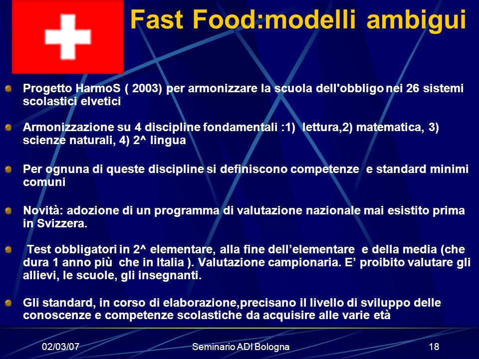 Fast Food:modelli ambigui