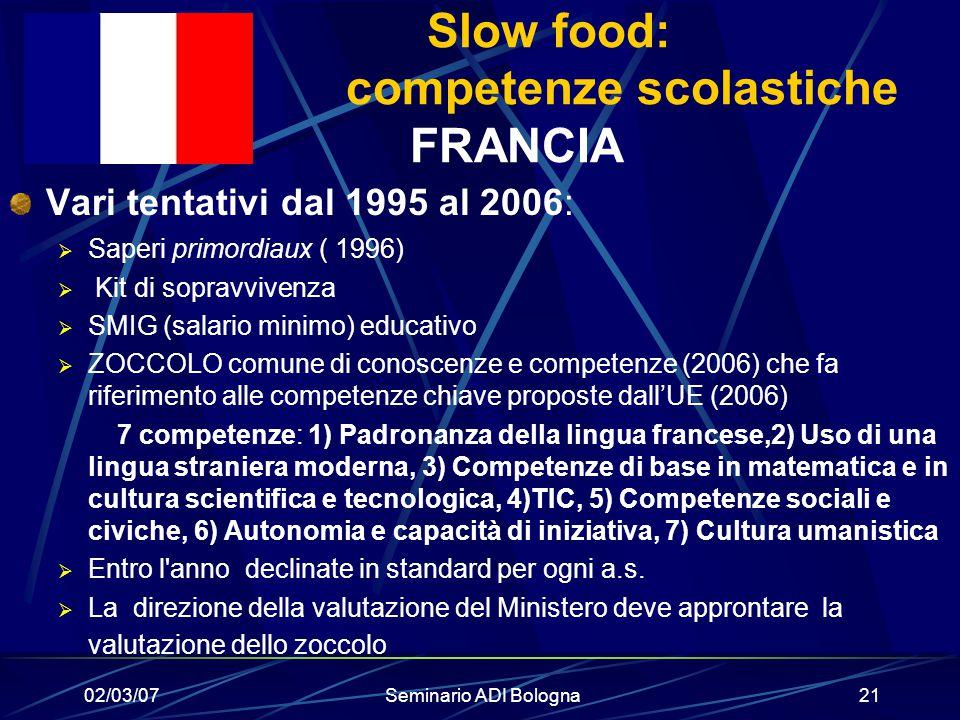 Slow food: competenze scolastiche FRANCIA