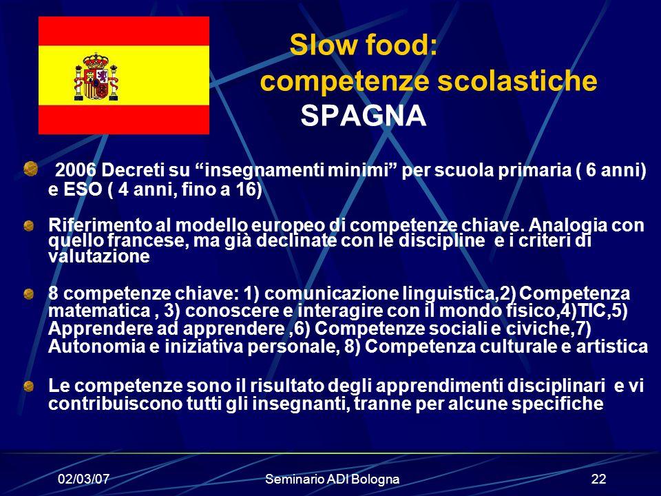 Slow food: competenze scolastiche SPAGNA