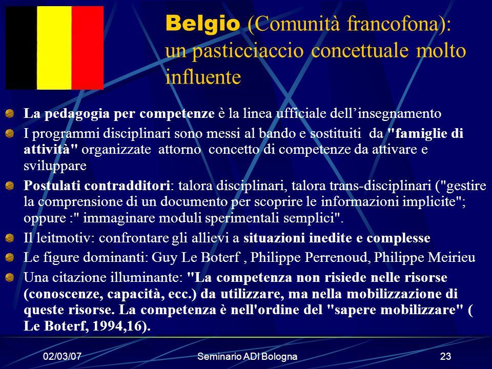 Belgio (Comunità francofona): un pasticciaccio concettuale molto influente