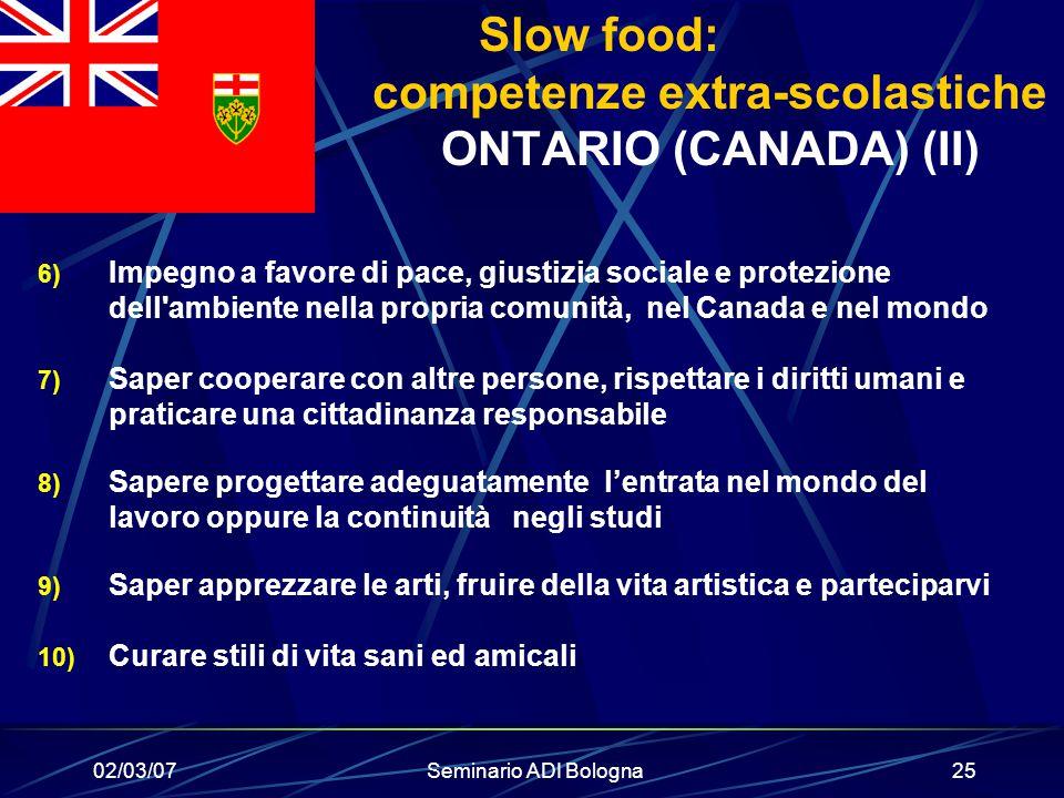 Slow food: competenze extra-scolastiche ONTARIO (CANADA) (II)