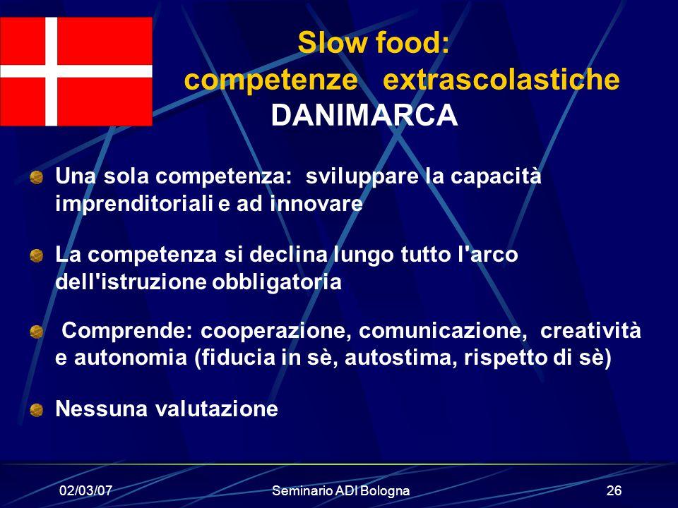 Slow food: competenze extrascolastiche DANIMARCA