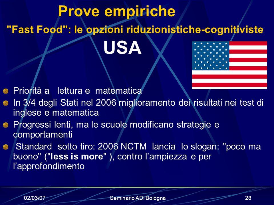 Prove empiriche Fast Food : le opzioni riduzionistiche-cognitiviste USA