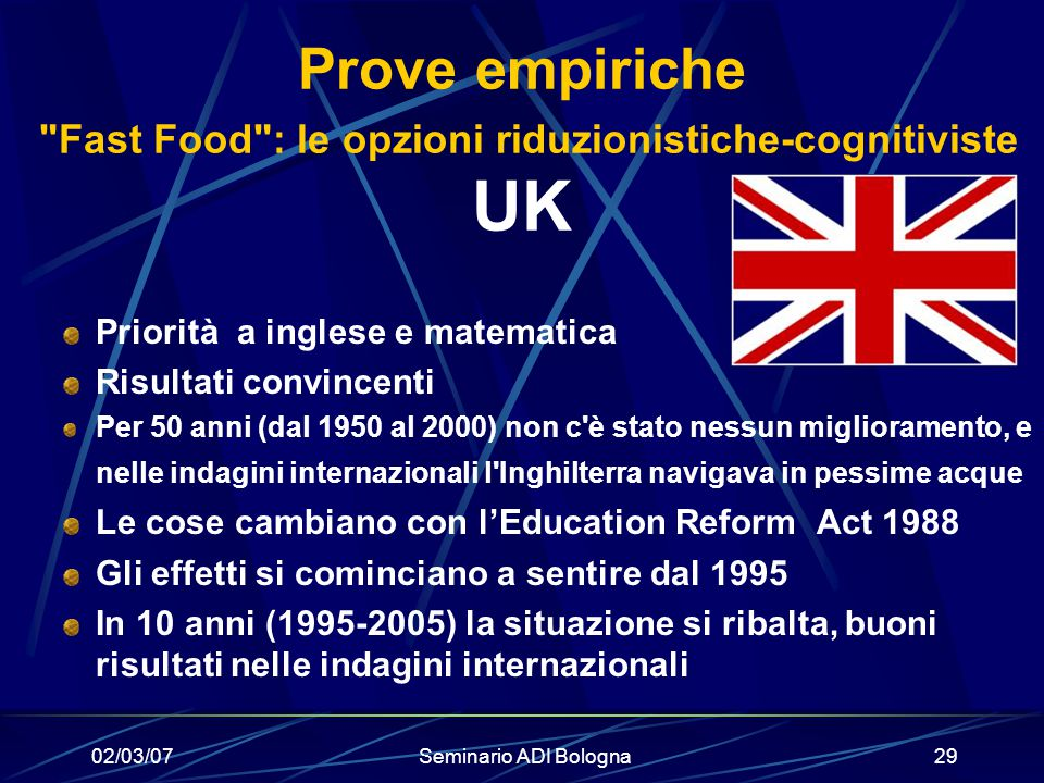 Prove empiriche Fast Food : le opzioni riduzionistiche-cognitiviste UK