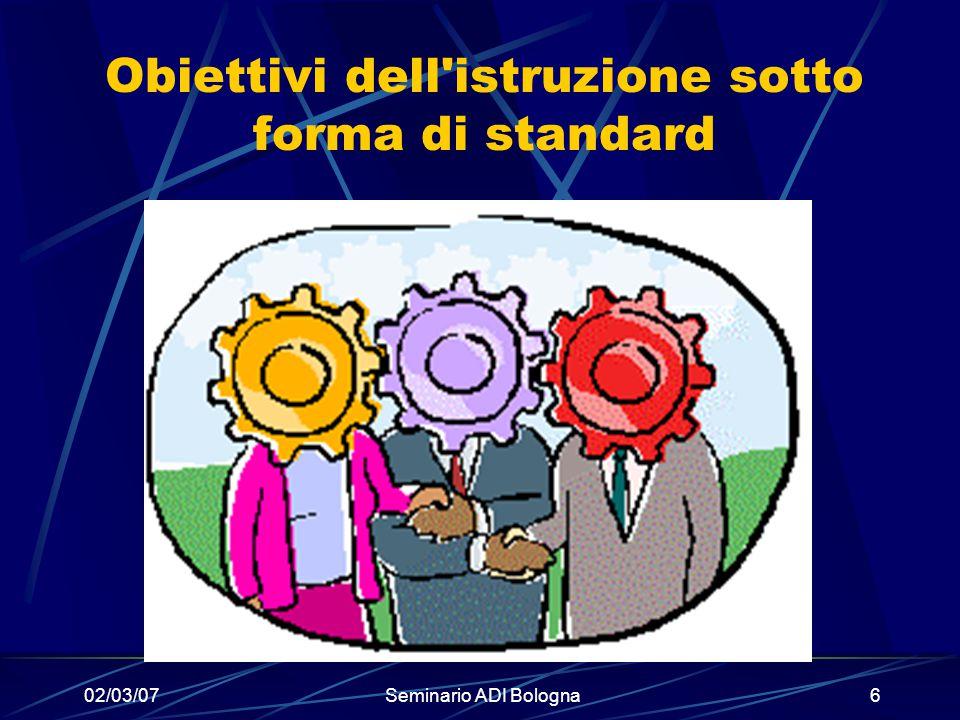 Obiettivi dell istruzione sotto forma di standard