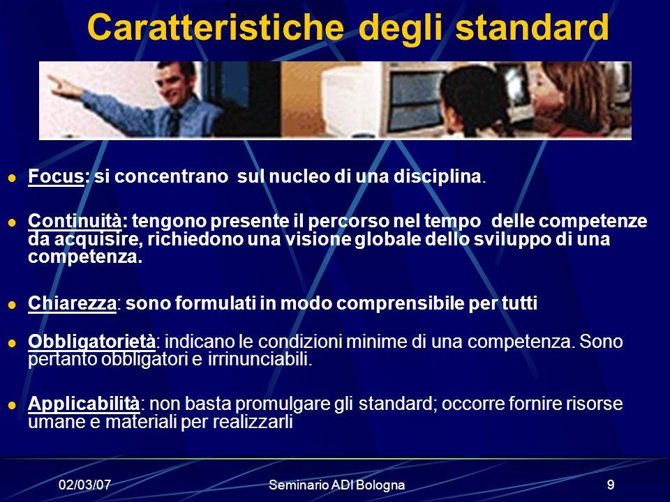 Caratteristiche degli standard