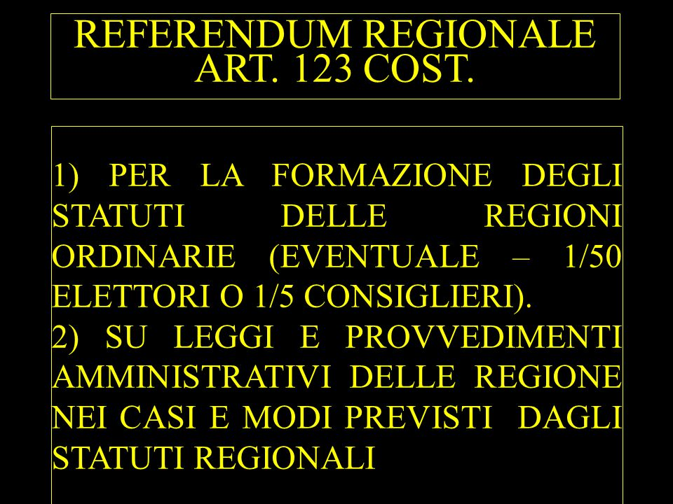 REFERENDUM REGIONALE ART. 123 COST.