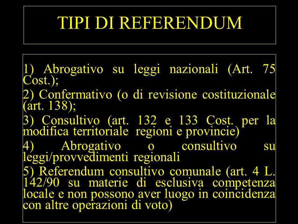TIPI DI REFERENDUM 1) Abrogativo su leggi nazionali (Art. 75 Cost.);