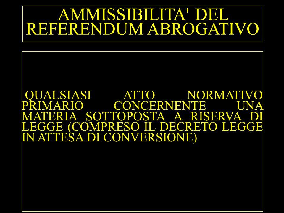 AMMISSIBILITA DEL REFERENDUM ABROGATIVO