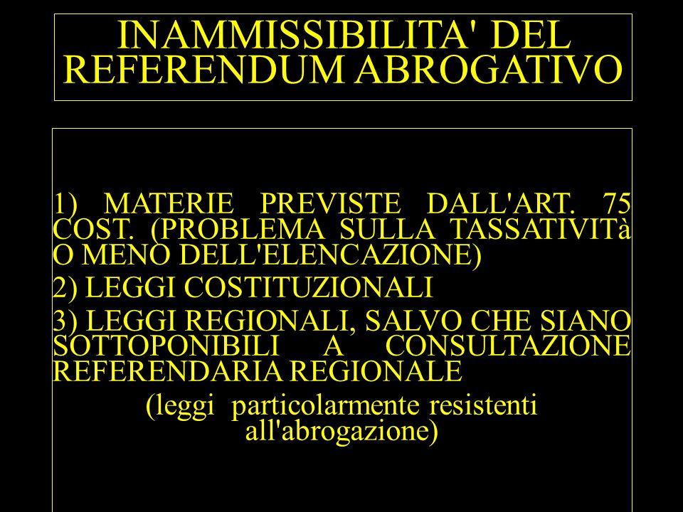 INAMMISSIBILITA DEL REFERENDUM ABROGATIVO
