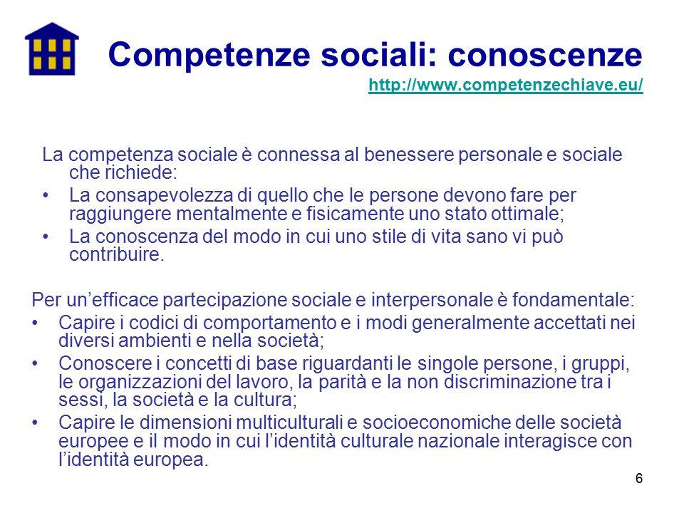 Competenze sociali: conoscenze http://www.competenzechiave.eu/