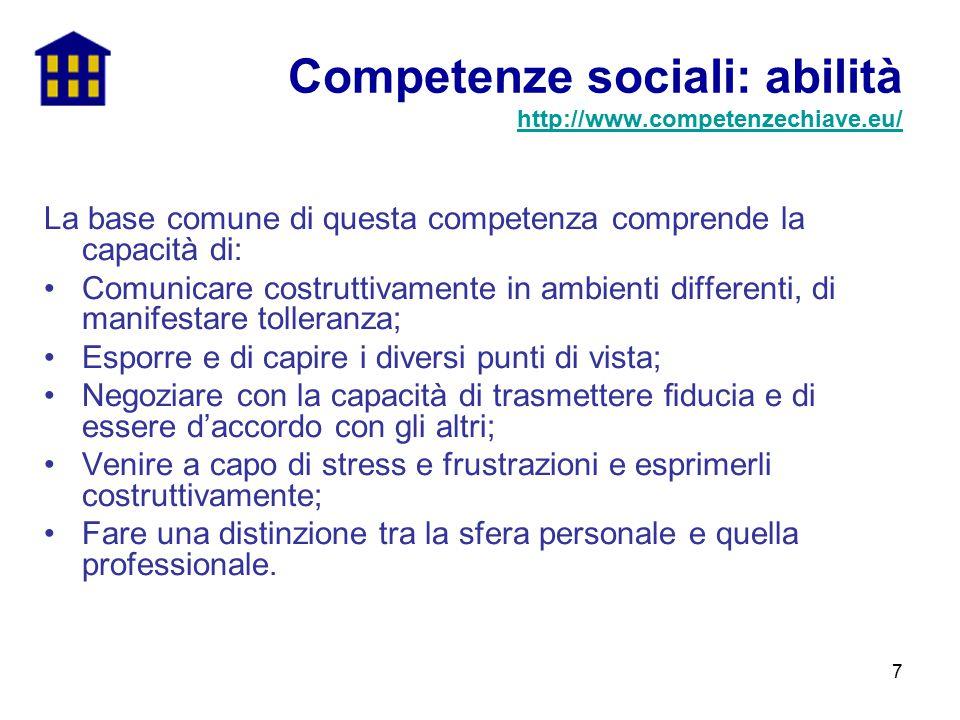 Competenze sociali: abilità http://www.competenzechiave.eu/