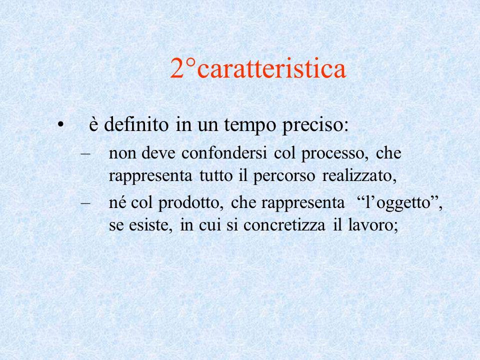 2°caratteristica è definito in un tempo preciso: