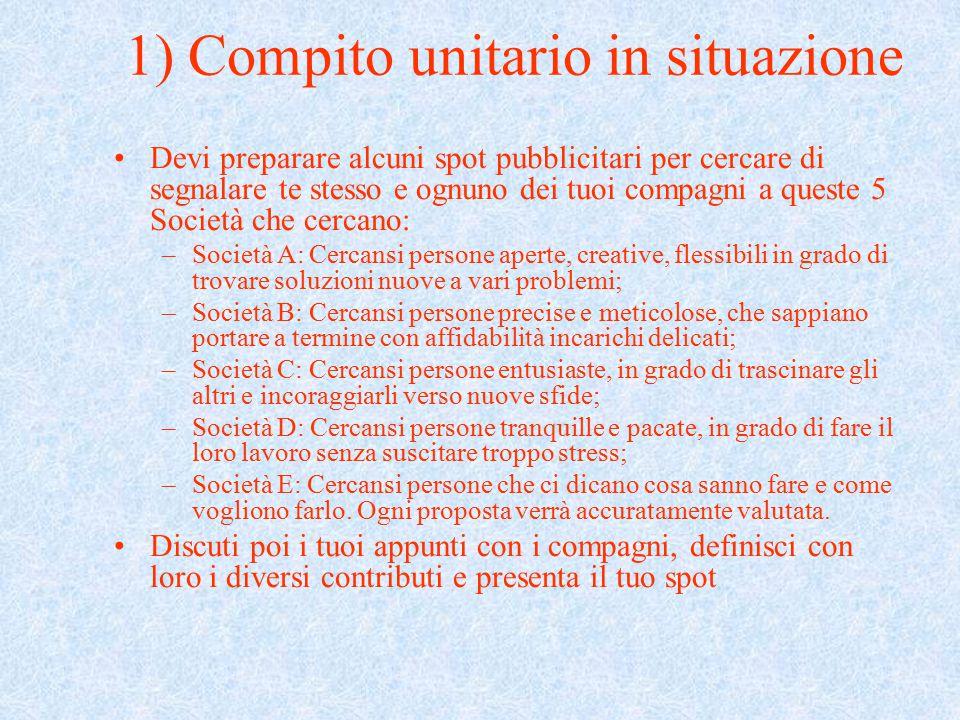 1) Compito unitario in situazione