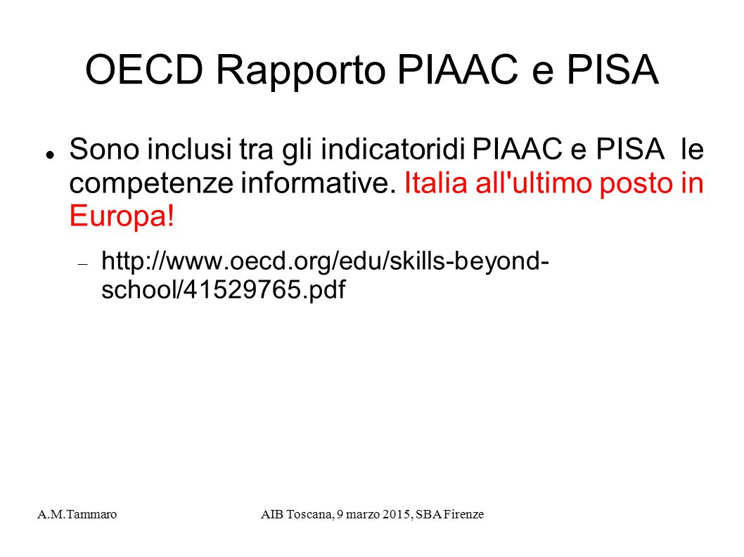 OECD Rapporto PIAAC e PISA