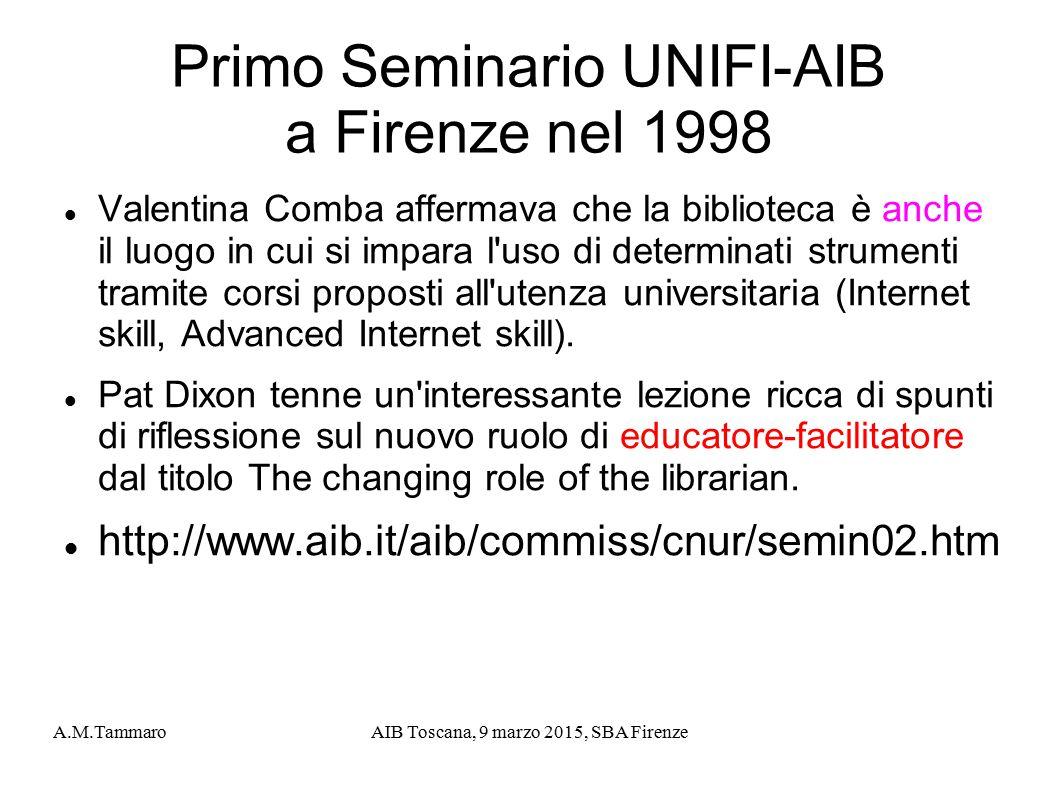 Primo Seminario UNIFI-AIB a Firenze nel 1998
