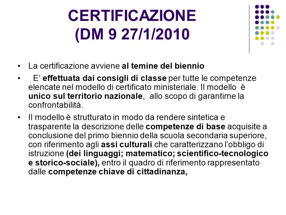 CERTIFICAZIONE (DM 9 27/1/2010 La certificazione avviene al temine del biennio.