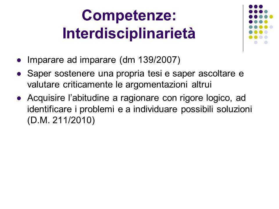 Competenze: Interdisciplinarietà