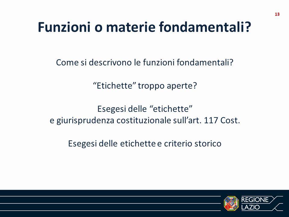 Funzioni o materie fondamentali