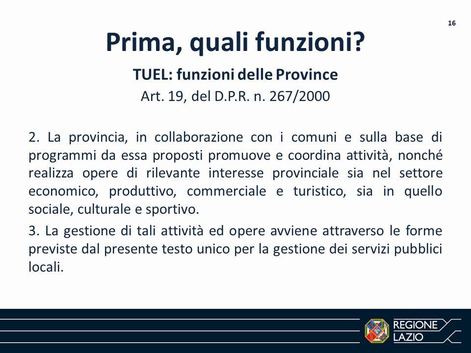 TUEL: funzioni delle Province