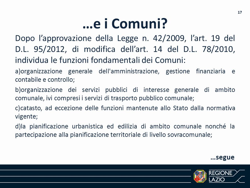 …e i Comuni 17.