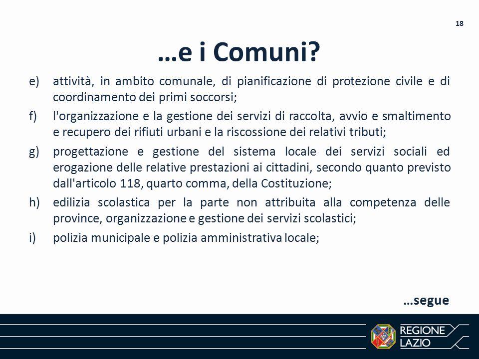 …e i Comuni attività, in ambito comunale, di pianificazione di protezione civile e di coordinamento dei primi soccorsi;