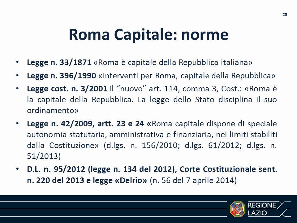 Roma Capitale: norme Legge n. 33/1871 «Roma è capitale della Repubblica italiana» Legge n. 396/1990 «Interventi per Roma, capitale della Repubblica»