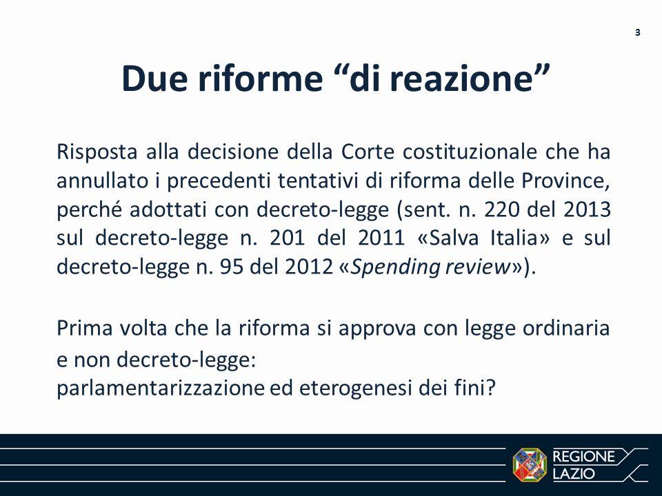 Due riforme di reazione