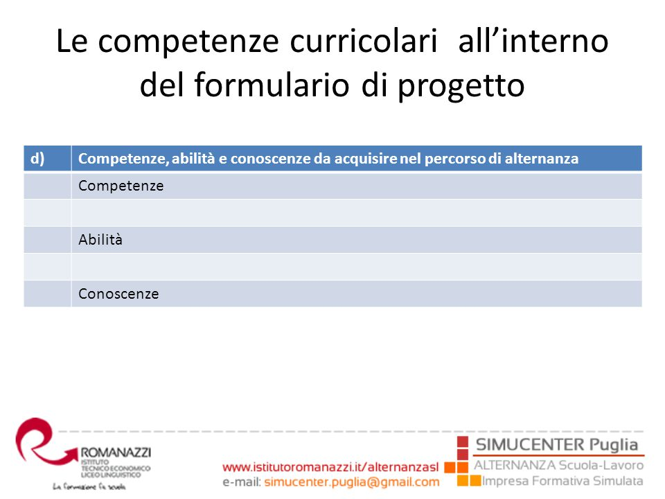 Le competenze curricolari all'interno del formulario di progetto