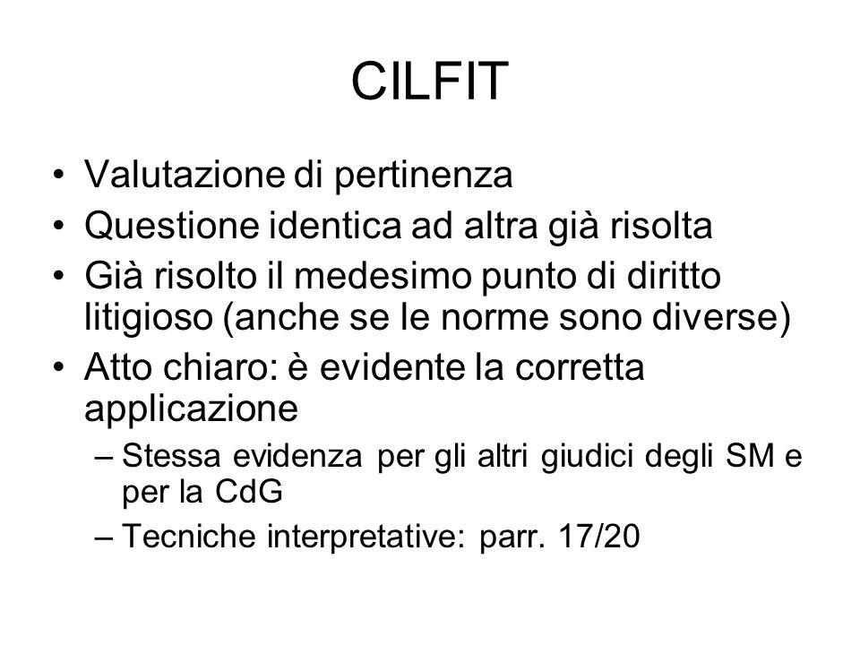 CILFIT Valutazione di pertinenza