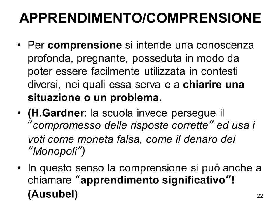 APPRENDIMENTO/COMPRENSIONE
