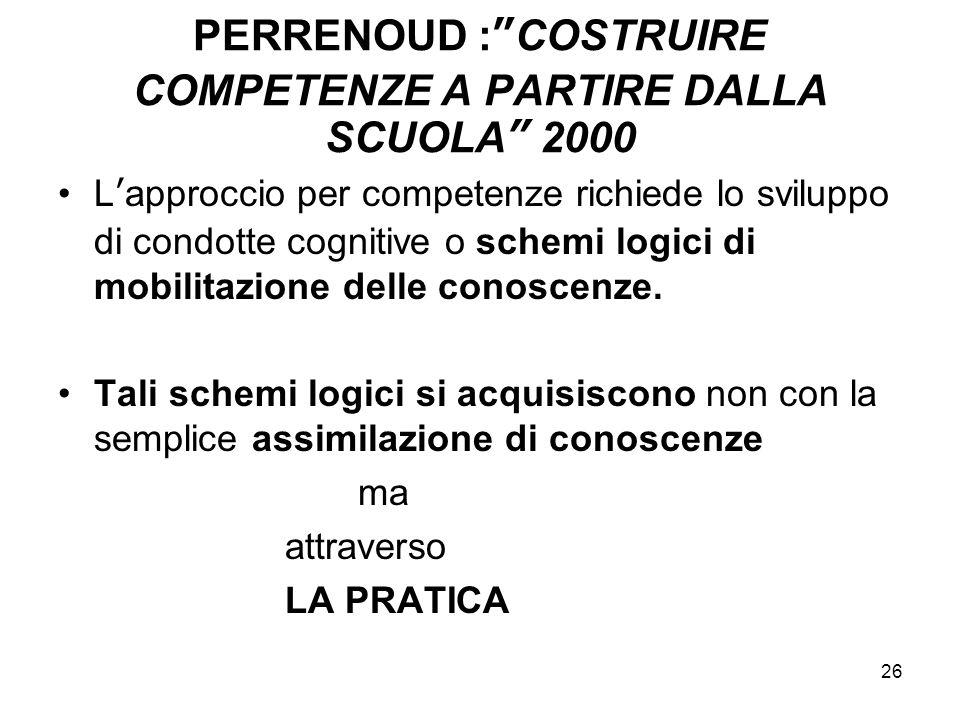 PERRENOUD : COSTRUIRE COMPETENZE A PARTIRE DALLA SCUOLA 2000