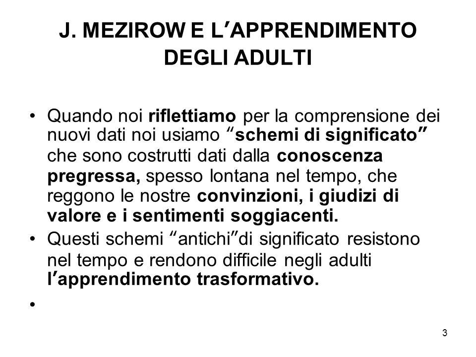 J. MEZIROW E L'APPRENDIMENTO DEGLI ADULTI