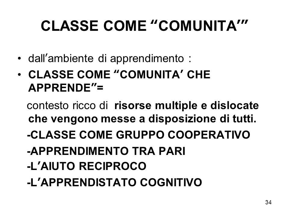 CLASSE COME COMUNITA'